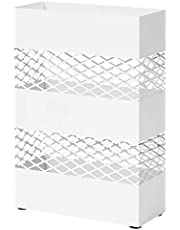 SONGMICS Paraplyhållare av metall, paraplystativ, 28 x 12 x 41 cm, rektangulär med vattenbricka, genombruten design, vit LUC02WT