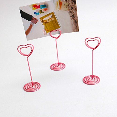 BESTONZON 12 Pack of Table Number Card Holder Place Card Paper Menu Clips Photo Holder Stand,Heart Shape(Pink)