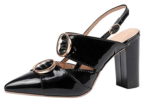 - Mofri Women's Sexy Buckle Burnished Cut Out Pointed Toe Slingback Block High Heel Pumps Sandals (Black, 4 M US)