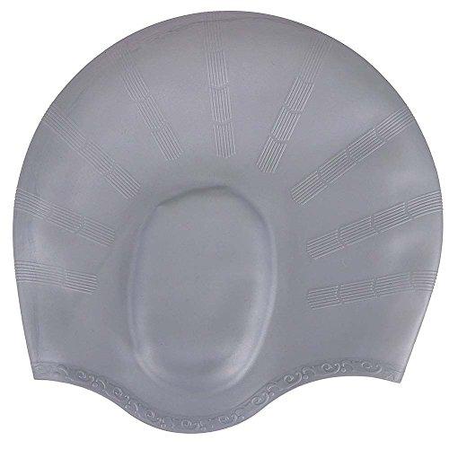 Unisex Long Hair Waterproof Swimming Caps(Grey) - 4