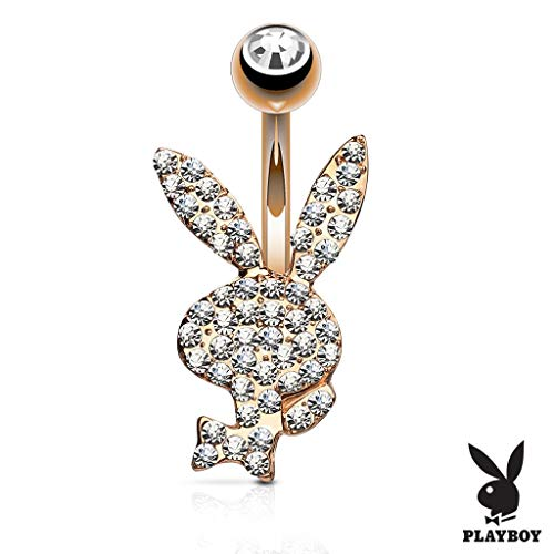 (Inspiration Dezigns 14GA Crystal Paved Playboy Bunny 316L Surgical Steel Belly Button Navel Rings (Rose)