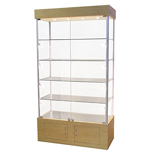 Rectangular Glass Tower Showcase Halogen Light Assembled Display Case Maple New by Bentley's Display