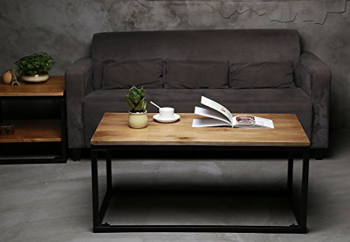 VILAVITA 40u2033 Coffee Table U2013 Modern Industrial Style U2013 Wood TV Stand,  Vintage Cocktail Table Couch