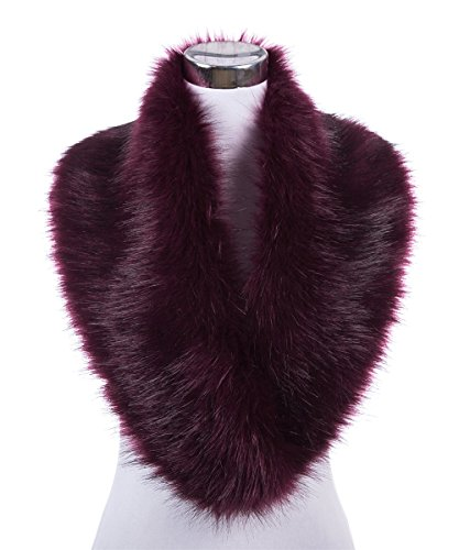 Lucky Leaf Women Winter Faux Fur Scarf Wrap Collar Shrug for Wedding Evening Party (Amaranth)