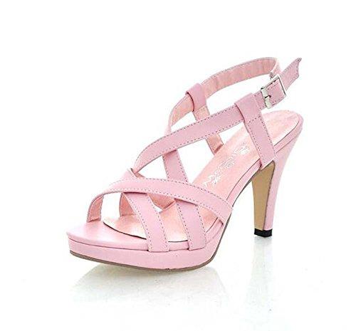 Pompa i sandali rosa Tacchetto a spillo Medio eleganti punta rotonda casuale delle donne Simple Shoes Europa Formato standard 34 35 36 37 38 39 40 41 42 43