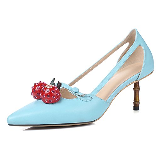 Nine Seven Cuero Moda Puntiagudos Tacones de Aguja de Vestir para Mujer Azul