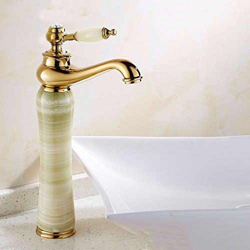 good STAZSX European-style copper indoor faucet jade marble natural stone faucet hot and cold faucet indoor faucet, green jade B