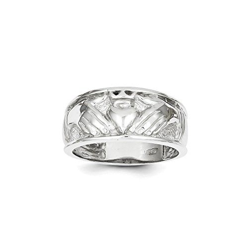 ICE CARATS 14kt White Gold Mens Irish Claddagh Celtic Knot Band Ring Size 10.00 Man Fine Jewelry Dad Mens Gift Set (Claddagh Ring Gents 14kt)