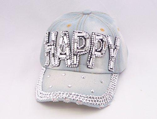 Blancho Women Fashion HAPPY Rhinestone Studded Bling Adjustable Baseball Cap Light Wash Denim Jean (LIGHT BLUE)