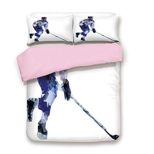 (Pink Duvet Cover Set,Twin Size,Hockey Player in Fragmented Triangle Formes Winter Sports Hobby Design,Decorative 3 Piece Bedding Set with 2 Pillow Sham,Best Gift For Girls Women,Blue Purplegrey)