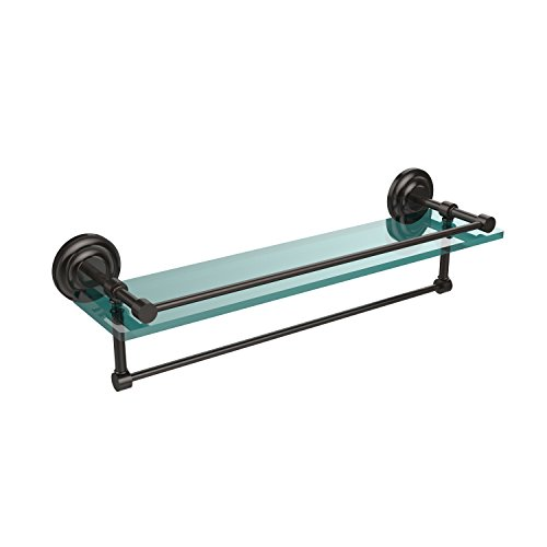22-GAL-ORB 22-Inch Gallery Glass Shelf with Towel Bar, Oil Rubbed Bronze ()