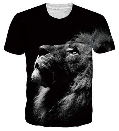 Loveternal Mens Black Lion Short Sleeve Bar Tee Shirts Cool 3D Graphics Plus Size Casual Tees for Men 80s Workout Top Tees for Men Women Unisex Summer Casual Raw Crew T Shirts Tops XXL