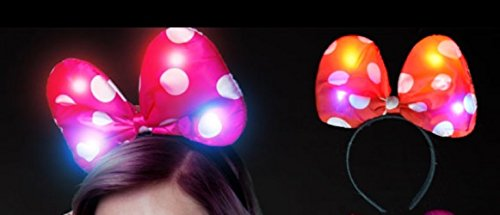 Light Up Flashing Bow Headband In Style Of Disney Minnie Mouse - Tons of fun for that next big party or - Holidays Strange In July