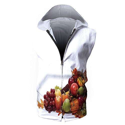 iPrint Men's Workout-and-Training-Sweatshirts,Harvest,Fall Arrangement with Fruits of -