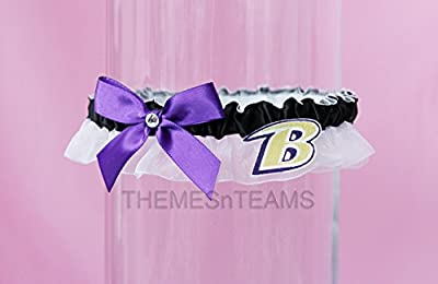 Customizable - Baltimore Ravens fabric handmade into bridal prom organza wedding thin garter TNT