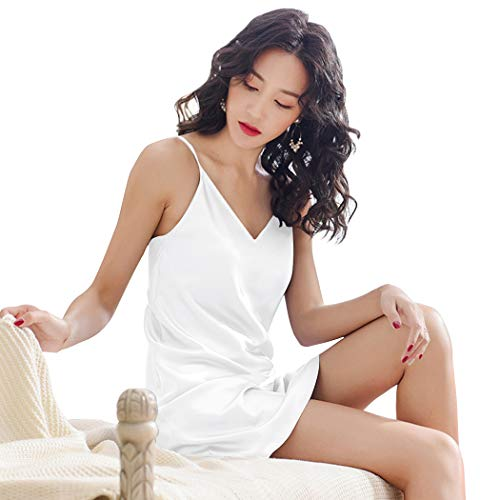 (Miqieer Women Silky Lingerie Sleepwear Chemises V-Neck Full Slip Nightgown Dress)