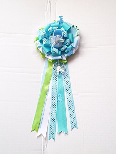 Mommy To Be Baby Shower Party Pin Corsage (Baby Shoe Theme Baby Shower Corsage - Light Blue, Aqua Blue, White & Apple Green) (Mommy To Be Corsage For Baby Shower)