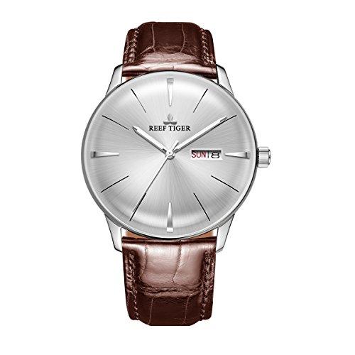 Reef Tiger Classic Dress Watches Mens Convex Lens Glass Mechanical Watches Calfskin Strap RGA8238 (RGA8238-YWS)