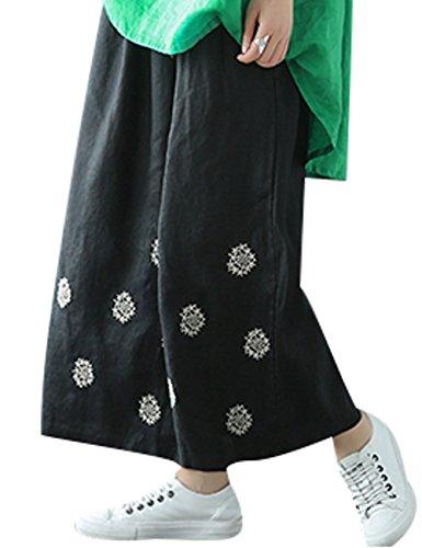 Largos De Pantalones Mujer Nieve Copo Bordados Elástica Negro Cintura Youlee cI14WqAA