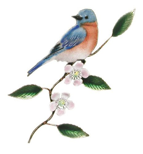 Eastern Bluebird on Flowering Branch Metal Wall Sculpture