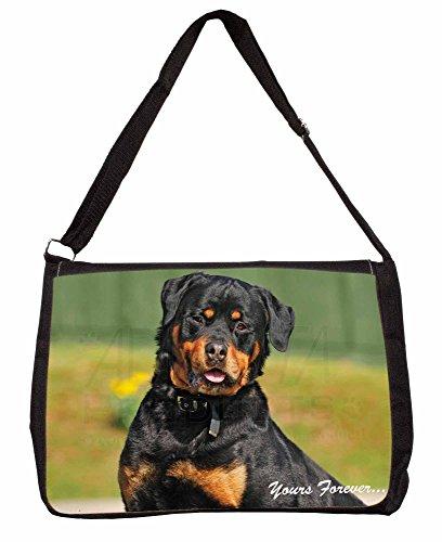 Rottweiler Dog Yours Forever Large 16 Black School Laptop Shoulder Bag