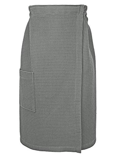 (Indulge Linen Women Spa/Bath Adjustable Closure Waffle Body Wrap with a Pocket (Gray, Large/X-Large))