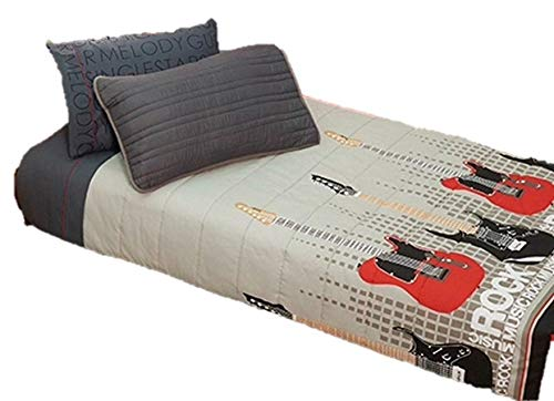 JORGE'S HOME FASHION Guitar Rock Music Kids Collection BUNKBED Comforter Set and Sheet Set 5 PCS Twin Size
