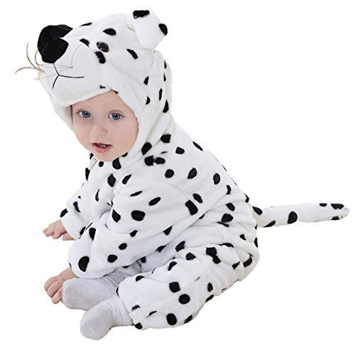 OSEPE Unisex-baby Flannel Romper Animal Onesie Pajamas Outfits Suit SnowLeopard Size90 ()