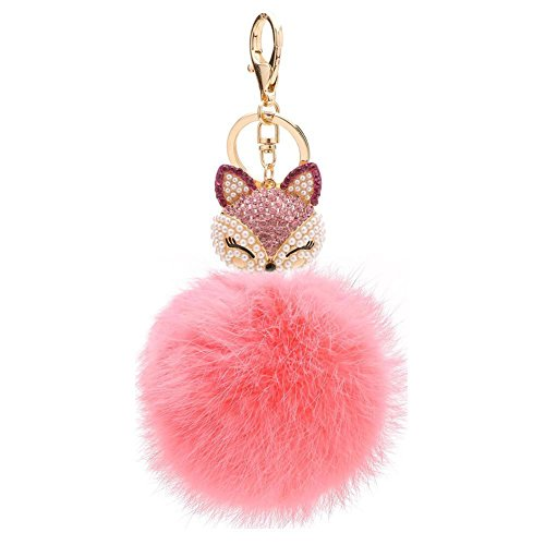 Kissweet Cute Fox Pom Pom Fur Ball Rhinestone Keychain Bag Car Ring Keyring