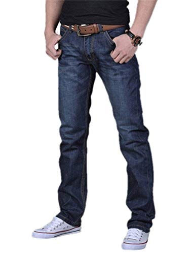 Jeans Uomo Pantaloni Bluejeans Chino Blu Skinny Regular Fit Casual Hrenjeans Retro Stretch Dritti Denim Di Base Strappati Blau-a1