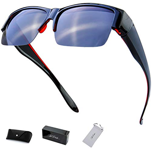 - The Fresh High Definition Polarized Wrap Around Shield Sunglasses for Prescription Glasses - Gift Box Package (504b-Crystal Red/Black Paint, Grey)