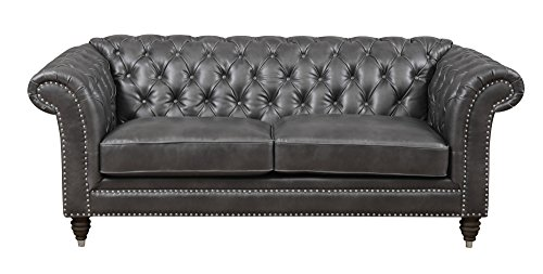 - Emerald Home Capone Charcoal Loveseat with Faux Leather Upholstery, Nailhead Trim, And Rolled Arms