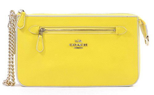 Coach Women's Yellow Chalk Nolita Wristlet 24 Colorblock Leather Wristlet Purse by Coach
