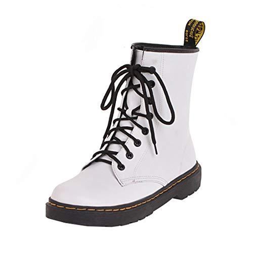 Scarpe Stivaletti Bianco YE Chiusa Ankle con Moda Stringata Autunnali Brogue Donna Boots e e Tacco Basso RtRwCqxa