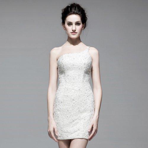 Linie Applikation Tuell Mini Weiß Kleidungen Kurz Dearta Perlenstickerei 1 Damen Brautkleider Mit Schulter A 6TwPtq