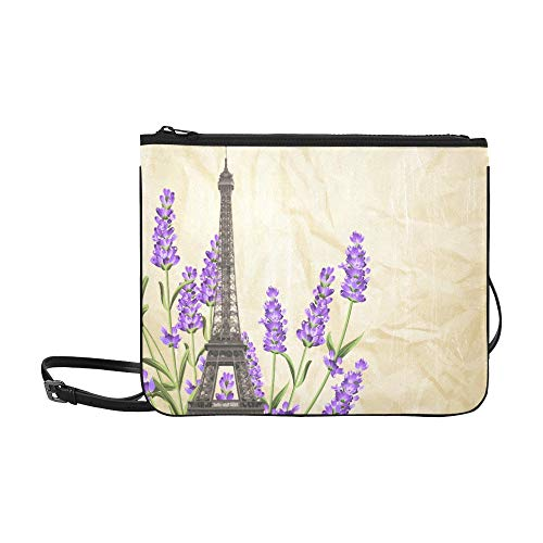 Vintage Lavender Flowers And Eiffel Tower Pattern Custom High-grade Nylon Slim Clutch Bag Cross-body Bag Shoulder Bag]()