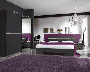 Schlafzimmer Komplett Licht, moderne KIRUNA für Erwachsene, schwarz ...