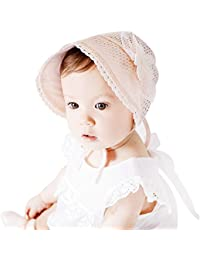 Lace Fashion Pearl Hollowed Flower Baby Bonnet Handmade In White or Pink