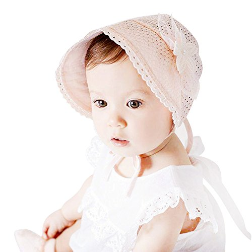 Pink Baby Bonnet - IMLECK Lace Fashion Pearl Hollowed Flower Baby Bonnet Handmade in White or Pink