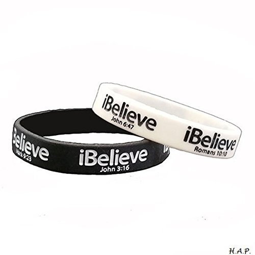 Ibelieve Debossed Scripture Verses Wristband Black White
