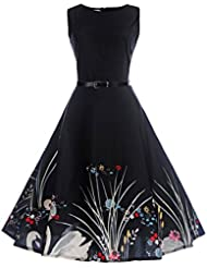 Clearance!Women Summer Dress,Todaies Women Vintage Bodycon Sleeveless Dress Casual Retro Evening Party Prom Swing Dress 2018