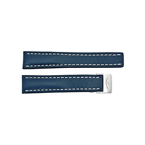 Breitling Leather Bands - Breitling Watch Band Strap Styled in Blue Leather and White Stitching with a Deployment Buckle 20-18mm
