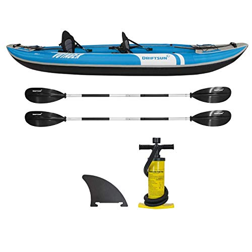 Driftsun Voyager 2 Person Inflatable Tandem Kayak, Includes 2 Aluminum Paddles, 2 EVA Padded Seats, Double Action Pump and More