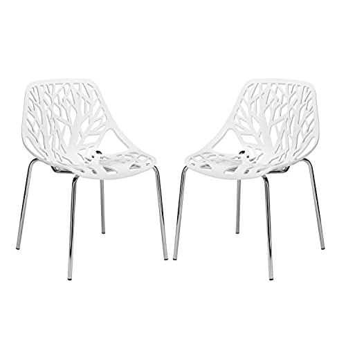 Attirant Poly And Bark Birds Nest Dining Side Chair, White, Set Of 2