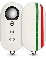kwmobile autosleutel hoesje compatibel met Fiat Lancia 3-knops inklapbare autosleutel - Autosleutel behuizing in groen/rood/wit - Italiaanse Strepen