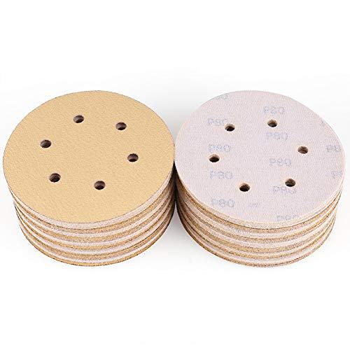 6-Inch 6-Hole 80 Grit Sanding Disc - Hook and Loop Random Orbital Sander Sandpaper by LotFancy, Pack of 100 ()
