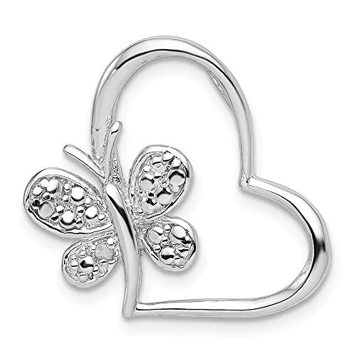 (Sterling Silver Jewelry Pendants & Charms Solid Diamond Butterfly Heart Chain Slide)
