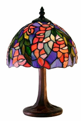 Warehouse of Tiffany M23-SB21 Tiffany-style Floral Table Lamp, Red/Blue - Floral Stained Glass Table Lamp