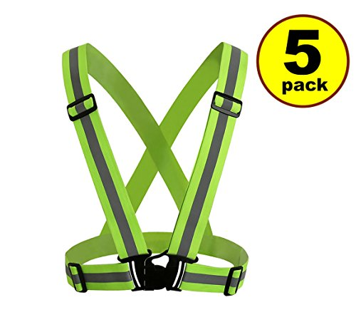 New JJMG Man/Woman High Adjustable Safety Security Visibility Reflective Neon Yellow Vest Gear Stripes belt Jacket – Jogging, Running,Cycling (5 Pack)
