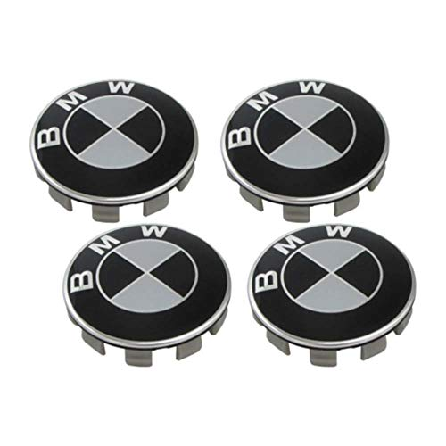 Enseng Set of 4 - BMW Wheel Center Caps Emblem, 68mm BMW Rim Center Hub Caps for All Models with BMW Wheels Logo (Black & ()